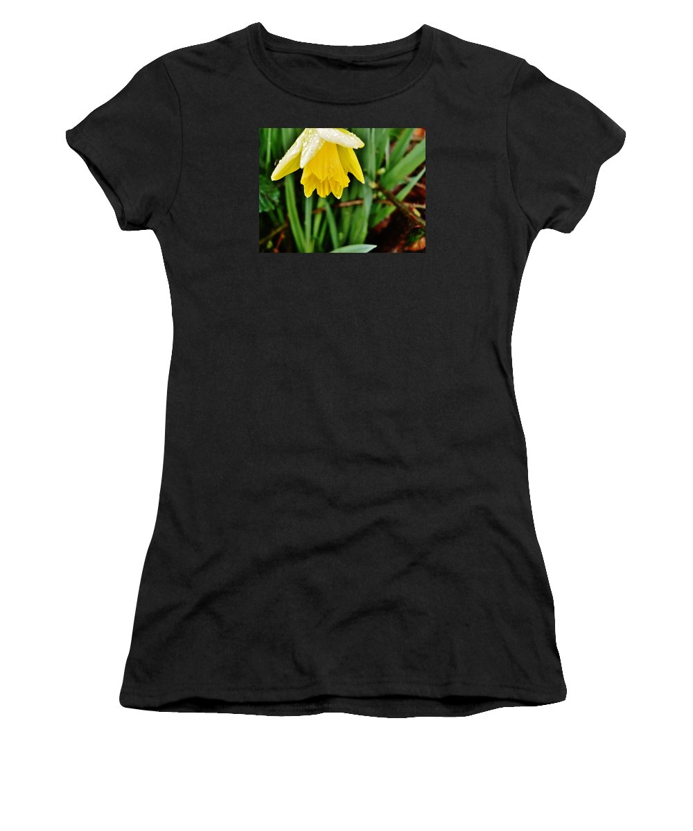 Flower Women's T-Shirt featuring the photograph After The Rain by VLee Watson