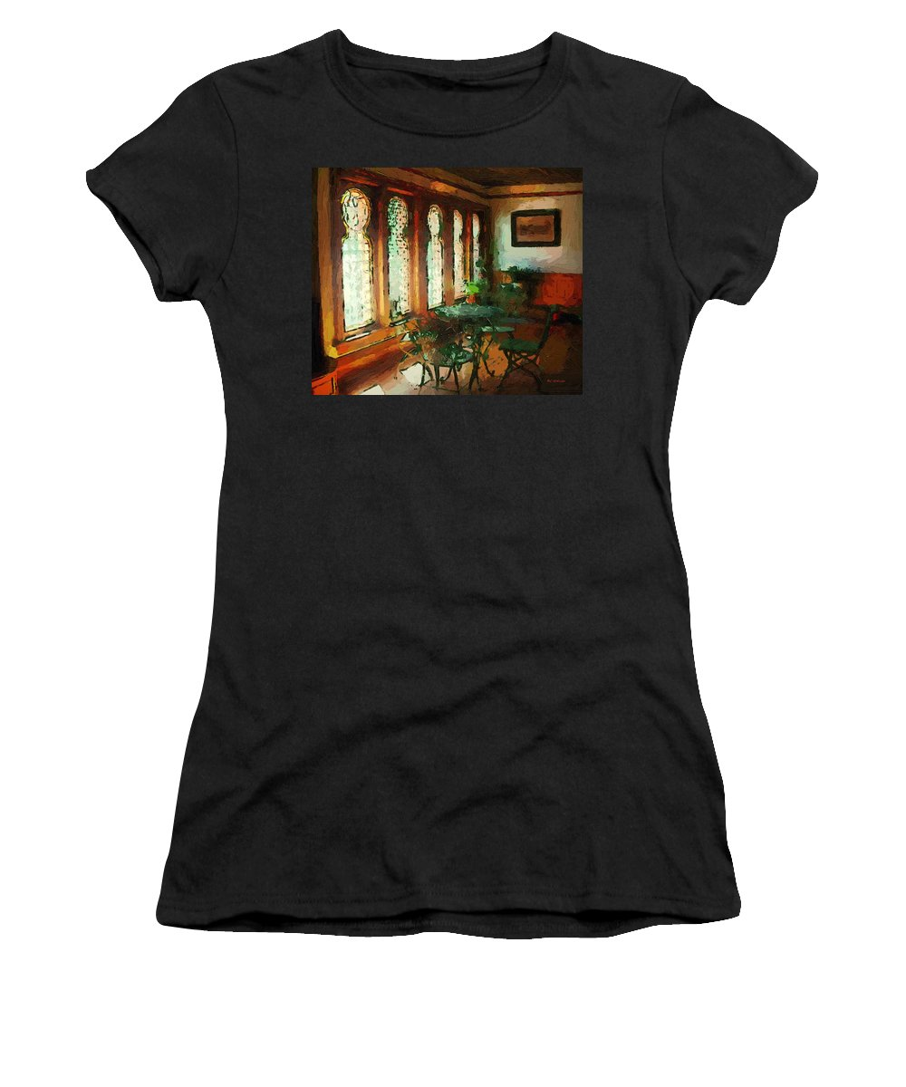 Cafe Women's T-Shirt featuring the painting Afternoon At Le Cafe Des Vignes by RC DeWinter