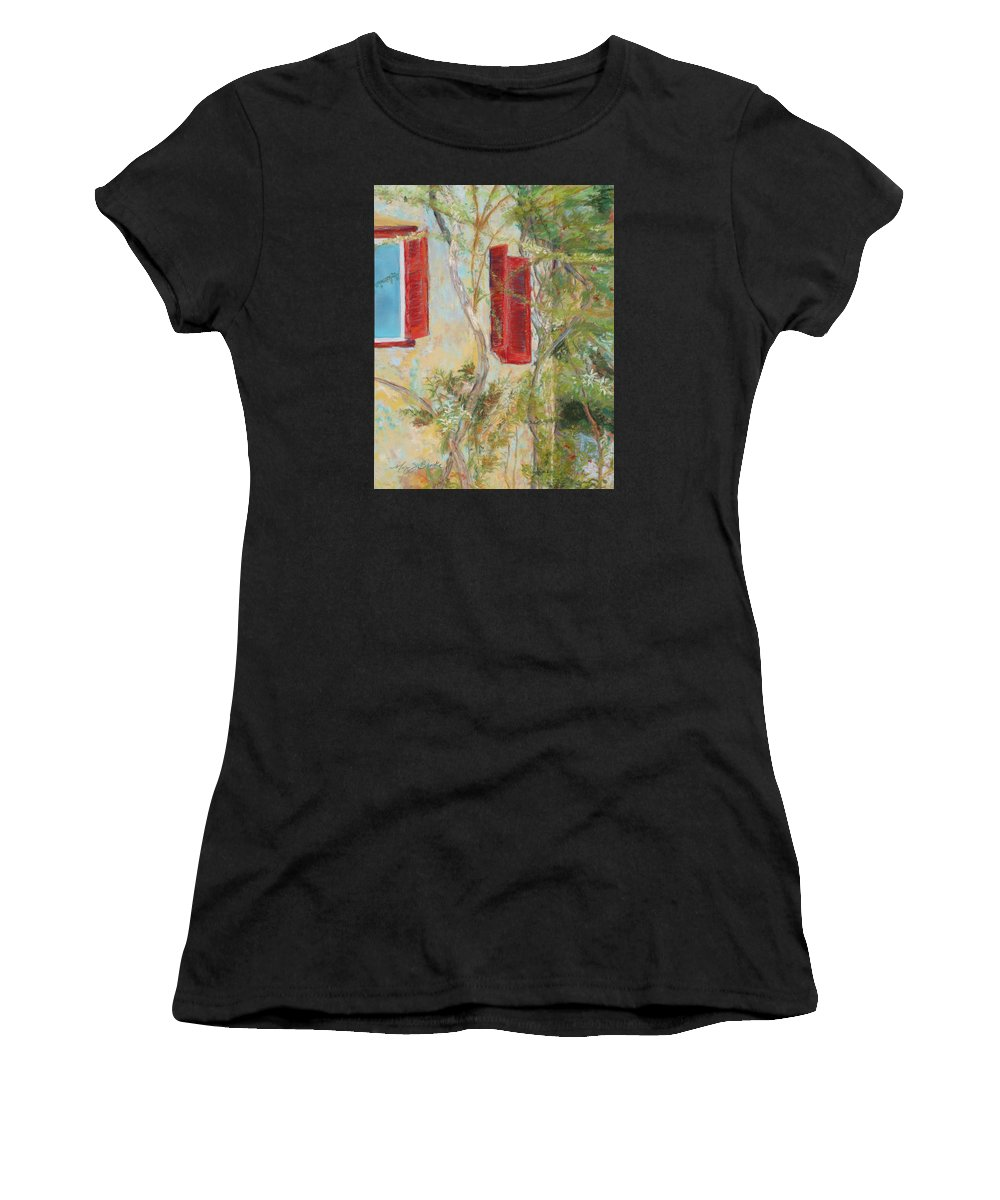 Europe Women's T-Shirt (Athletic Fit) featuring the painting Afternoon In Athens by Mary Benke