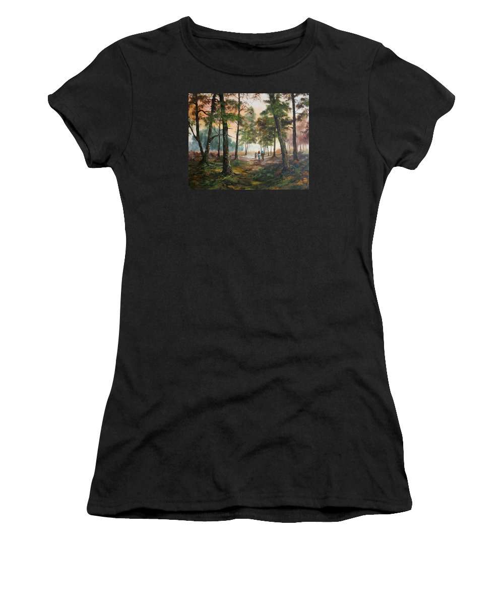 Cannock Chase Women's T-Shirt featuring the painting Afternoon Ride Through The Forest by Jean Walker