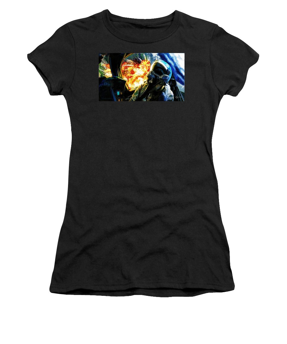 Agm Women's T-Shirt featuring the painting Air To Ground by Dave Luebbert
