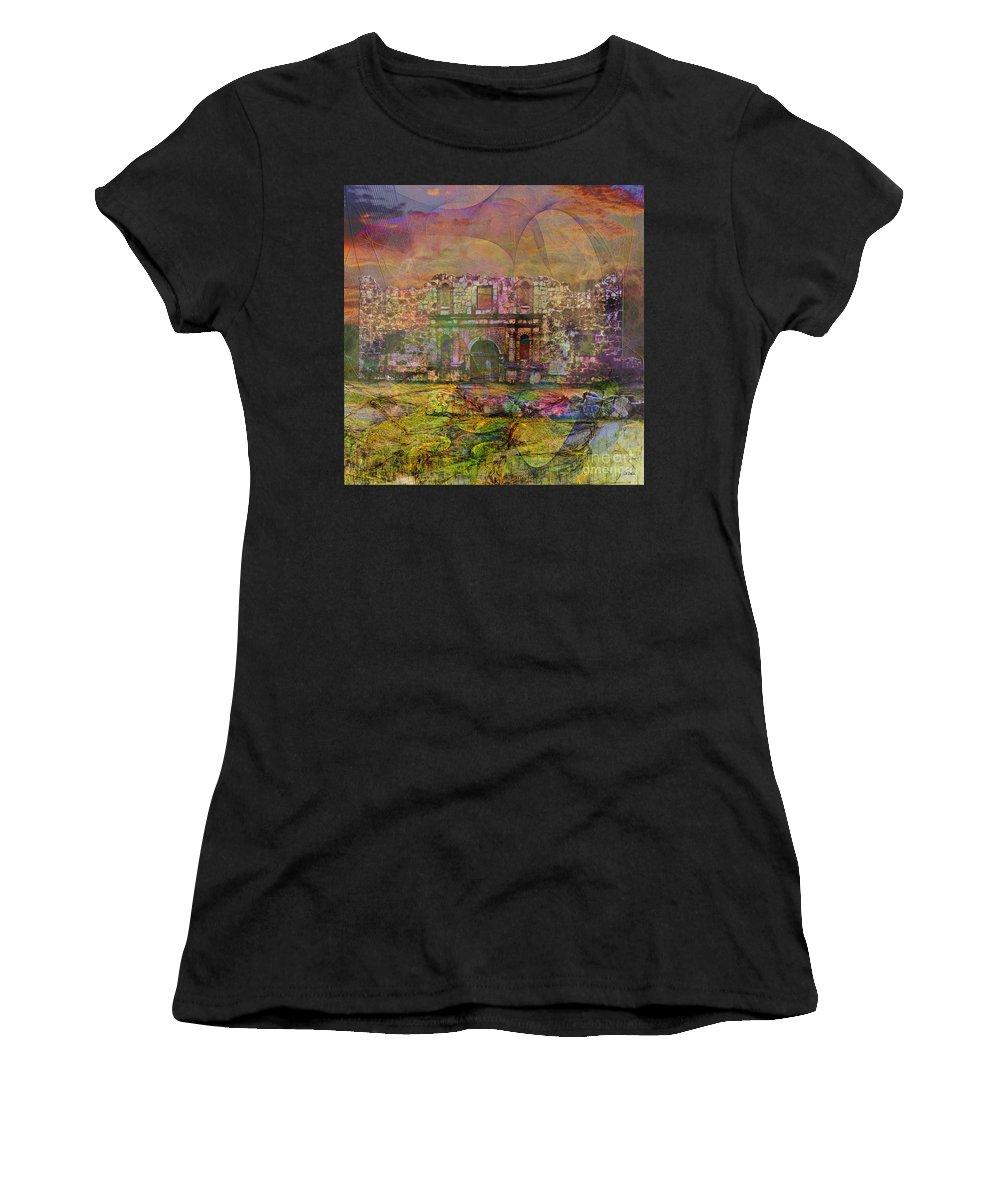 Alamo Women's T-Shirt featuring the digital art Alamo After The Fall - Square Version by John Beck