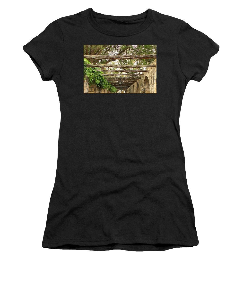 Alamo Walkway Women's T-Shirt (Athletic Fit) featuring the photograph Alamo Walkway by Carol Groenen