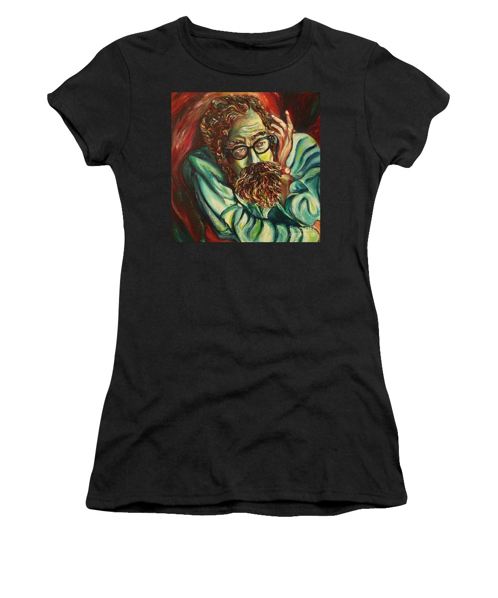 Allen Ginsberg Women's T-Shirt (Athletic Fit) featuring the painting Alan Ginsberg Poet Philosopher by Carole Spandau