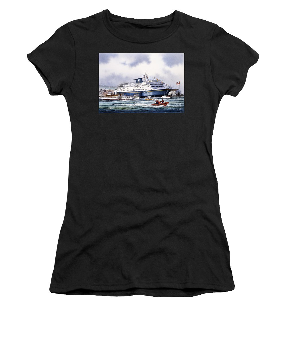Alaska Ferry Fine Art Print Women's T-Shirt (Athletic Fit) featuring the painting Alaska Ferry by James Williamson