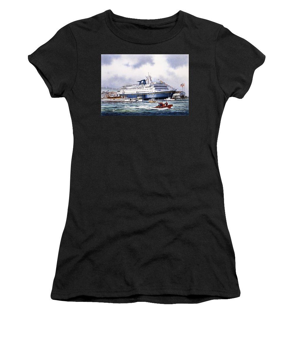 Alaska Ferry Fine Art Print Women's T-Shirt featuring the painting Alaska Ferry by James Williamson