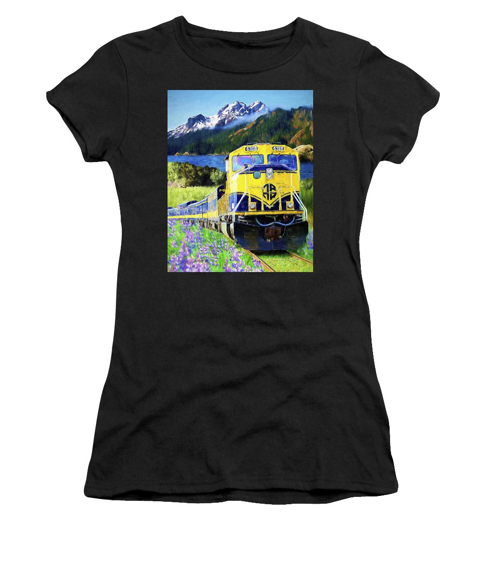 Railroad Women's T-Shirt (Athletic Fit) featuring the painting Alaska Railroad by David Wagner