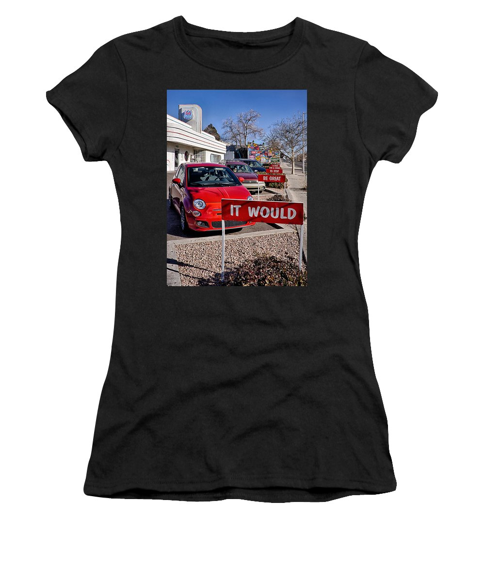 66 Diner Women's T-Shirt (Athletic Fit) featuring the photograph Albuquerque's Route 66 Diner by Priscilla Burgers