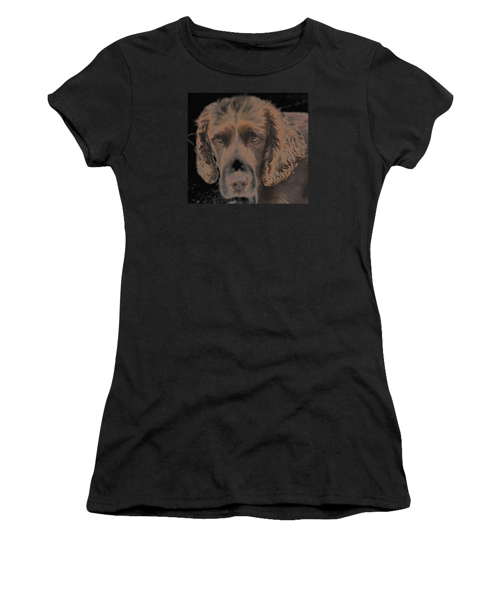 Photographs Of Dogs Women's T-Shirt featuring the photograph Hypnotic by Dave Byrne