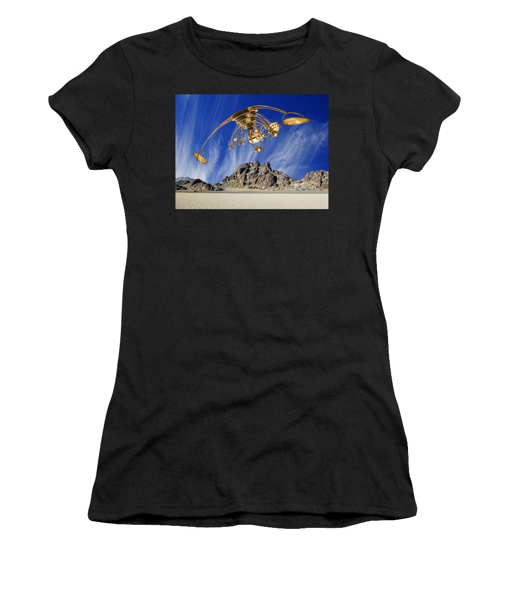 Area 51 Women's T-Shirt (Athletic Fit) featuring the photograph Alien Probe Over Area 51 by Dominic Piperata