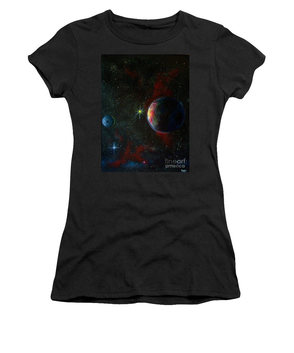 Cosmos Women's T-Shirt (Athletic Fit) featuring the painting Alien Worlds by Murphy Elliott