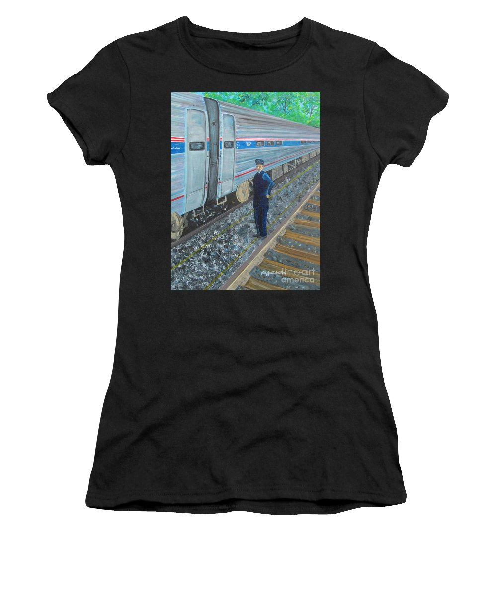 Train Women's T-Shirt featuring the painting All Aboard by Sally Rice