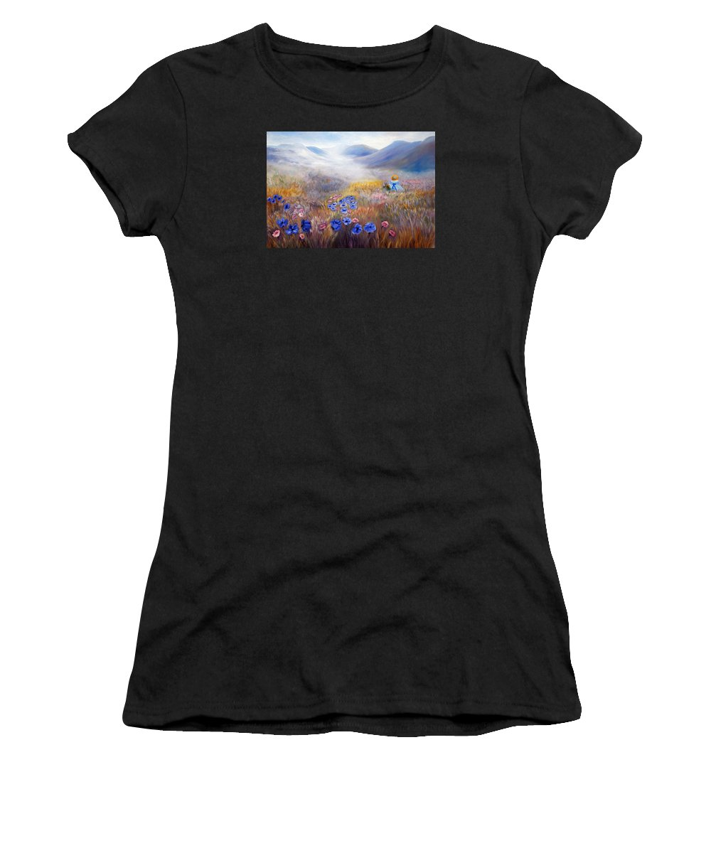 Field Women's T-Shirt featuring the painting All In A Dream - Impressionism by Georgiana Romanovna