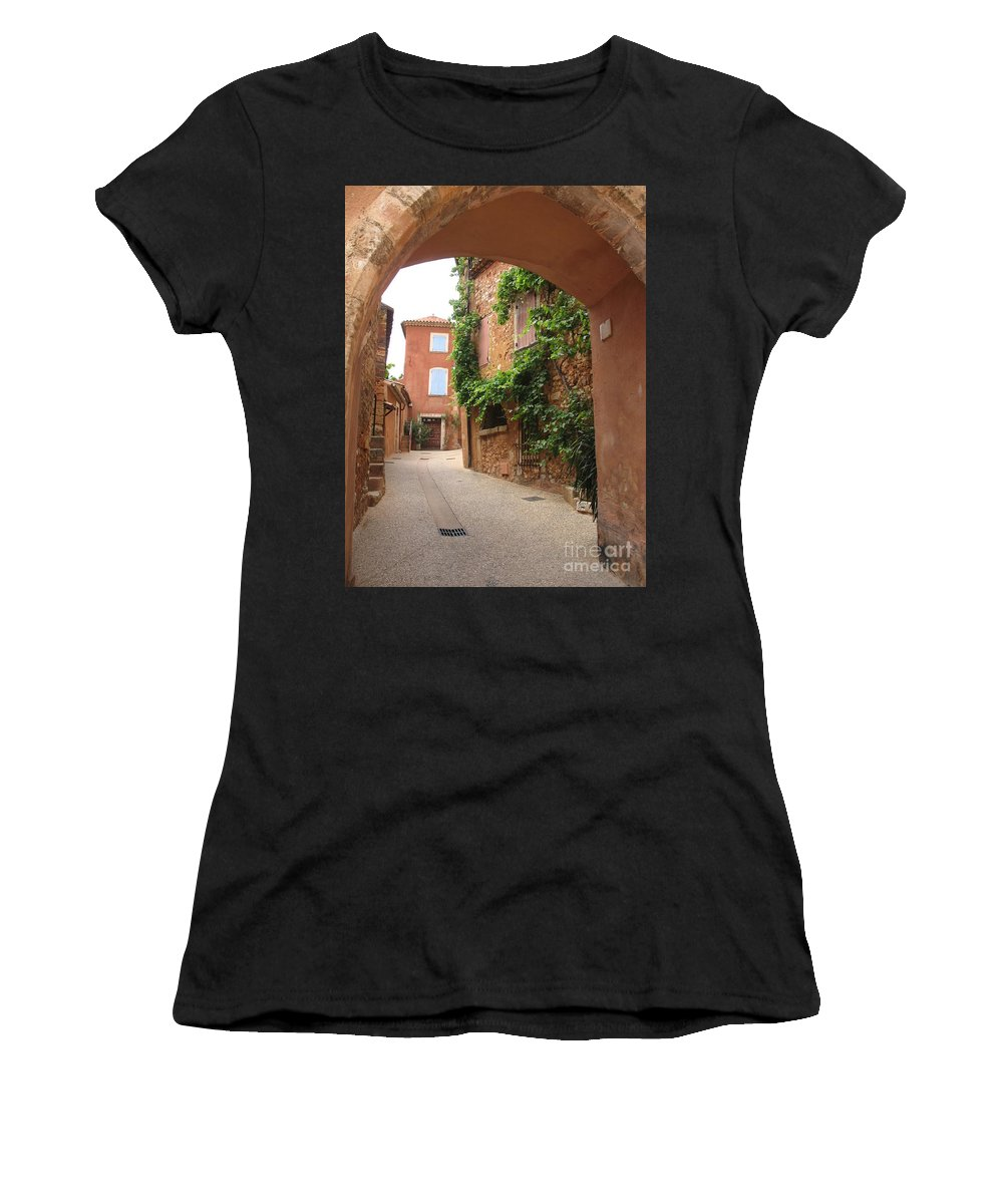 Village Women's T-Shirt (Athletic Fit) featuring the photograph Alley In Roussillion by Christiane Schulze Art And Photography