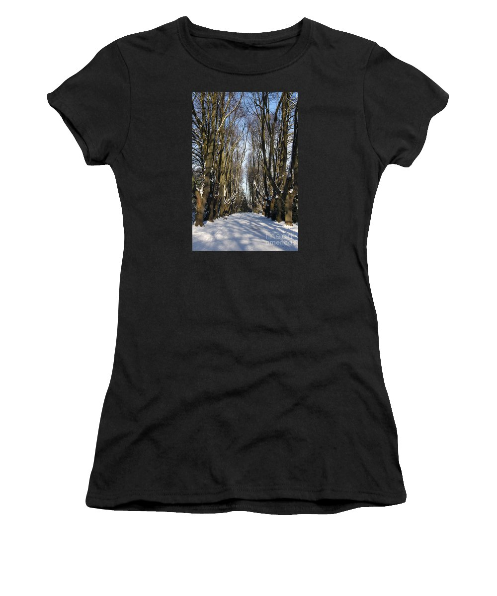 Trees Women's T-Shirt (Athletic Fit) featuring the photograph Alley In The Snow by Christiane Schulze Art And Photography