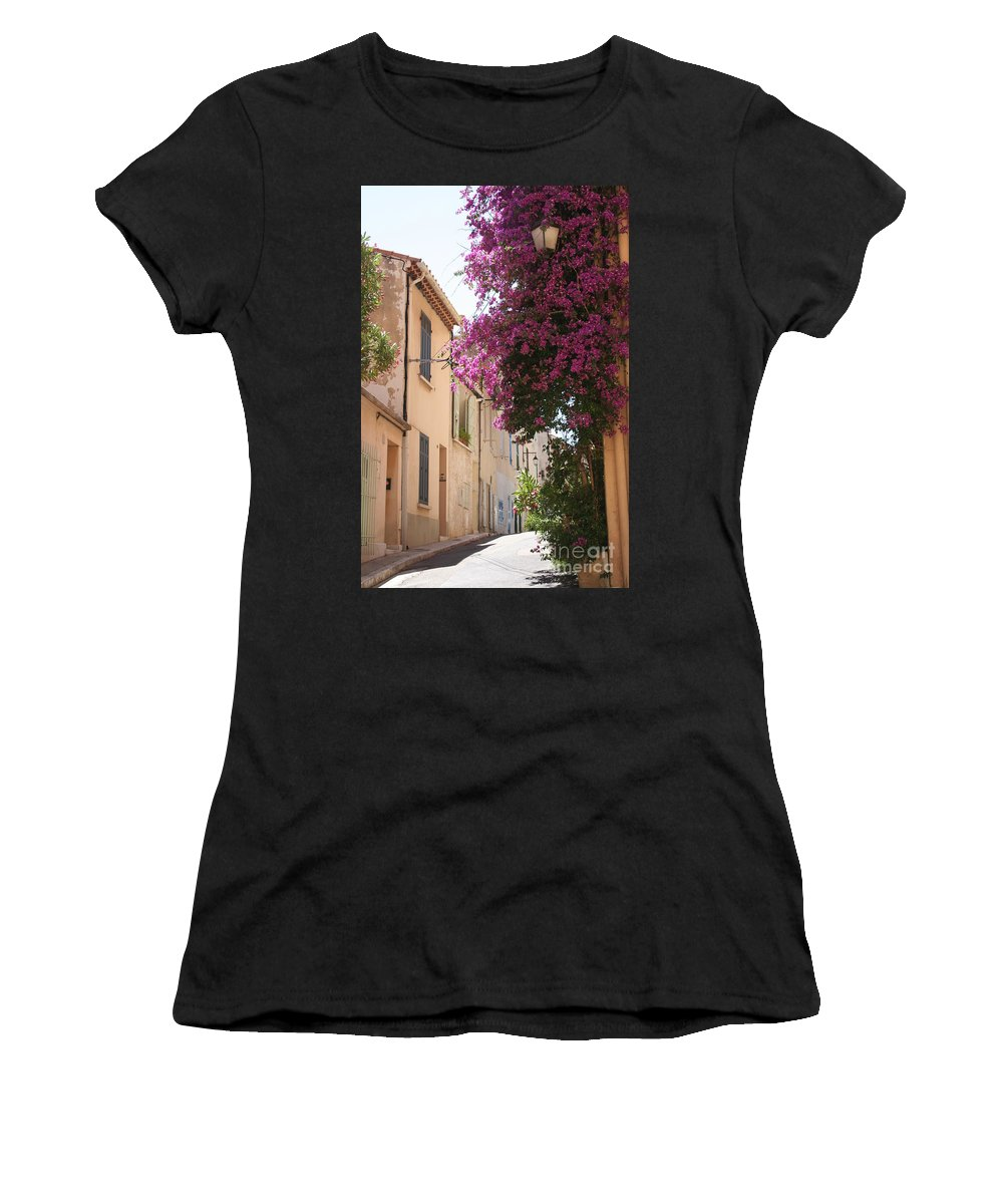 Alley Women's T-Shirt (Athletic Fit) featuring the photograph Alley With Bougainvillea - Provence by Christiane Schulze Art And Photography