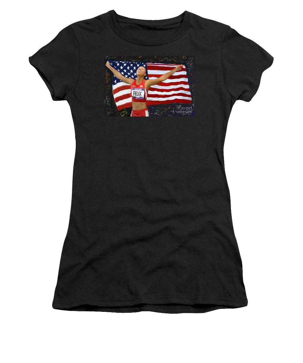Track And Field Olympics Women's T-Shirt (Athletic Fit) featuring the digital art Allison Felix Olympian Gold Metalist by Vannetta Ferguson