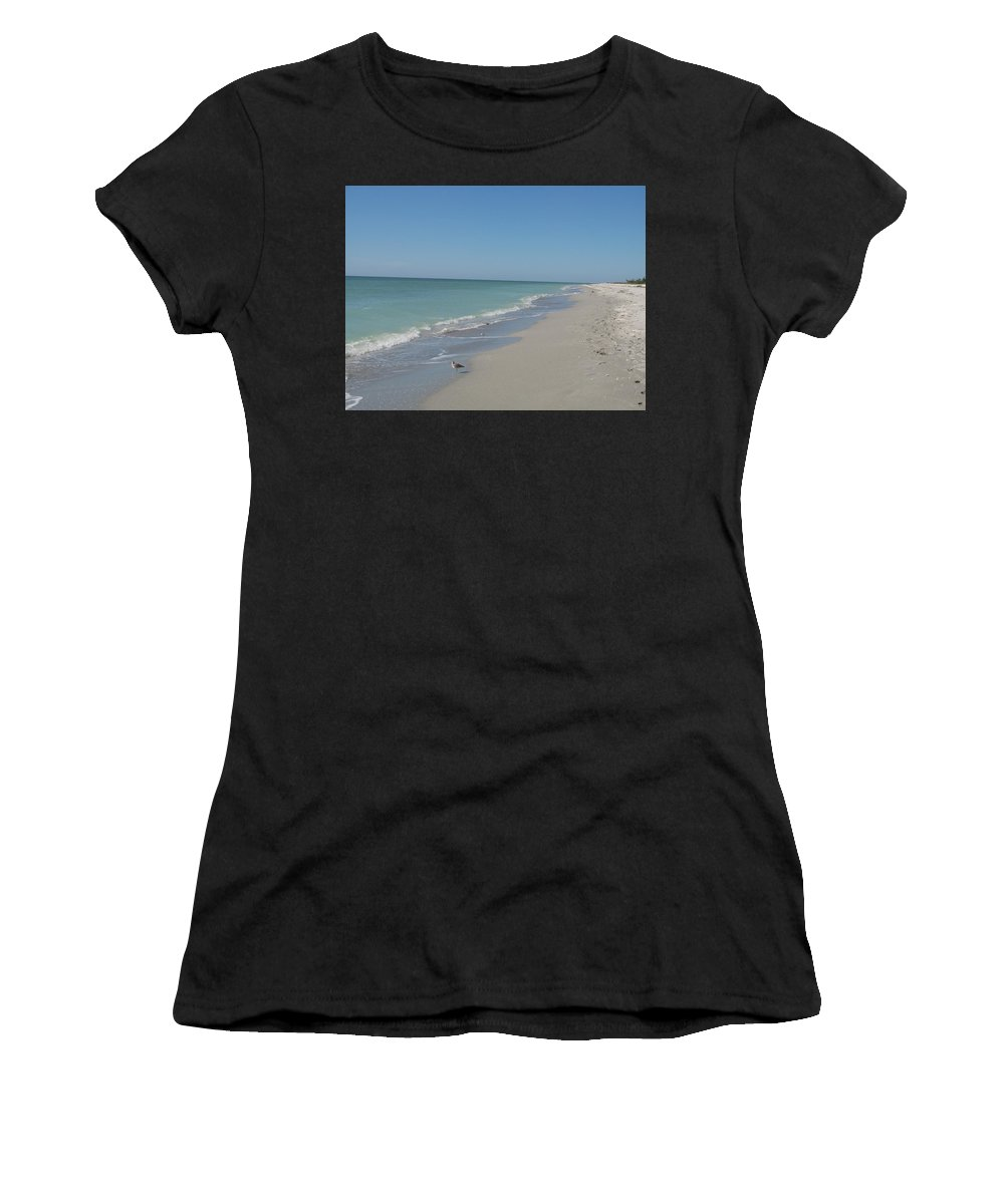 Beach Women's T-Shirt featuring the photograph Alone At The Beach by Christiane Schulze Art And Photography