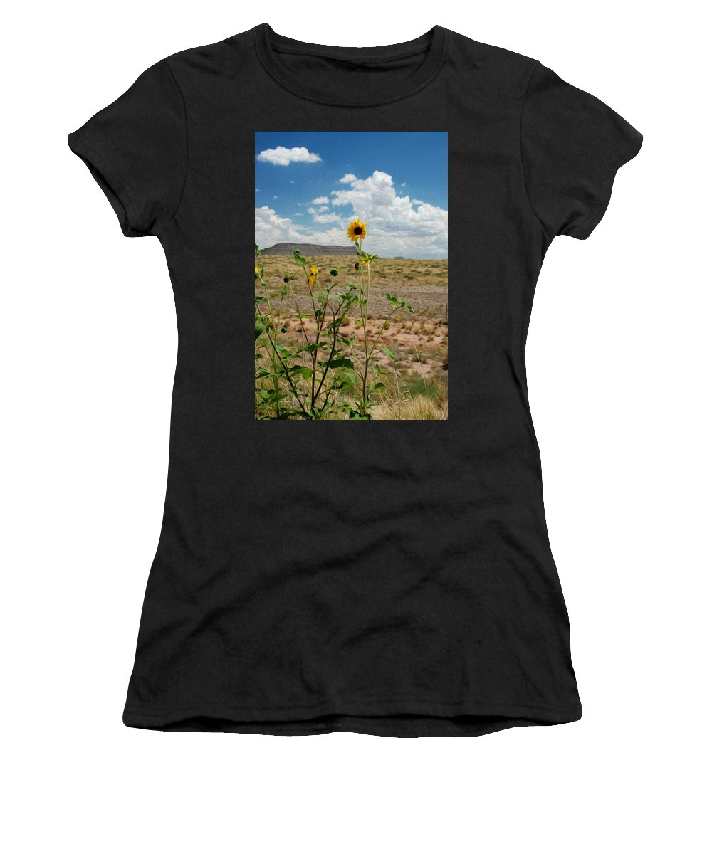 Sunflower Women's T-Shirt (Athletic Fit) featuring the photograph Along Route 66 In Arizona by Tracy Winter