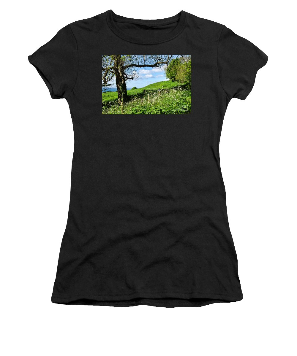 Gate Women's T-Shirt (Athletic Fit) featuring the photograph Along The Coastal Path - Lyme Regis 2 by Susie Peek