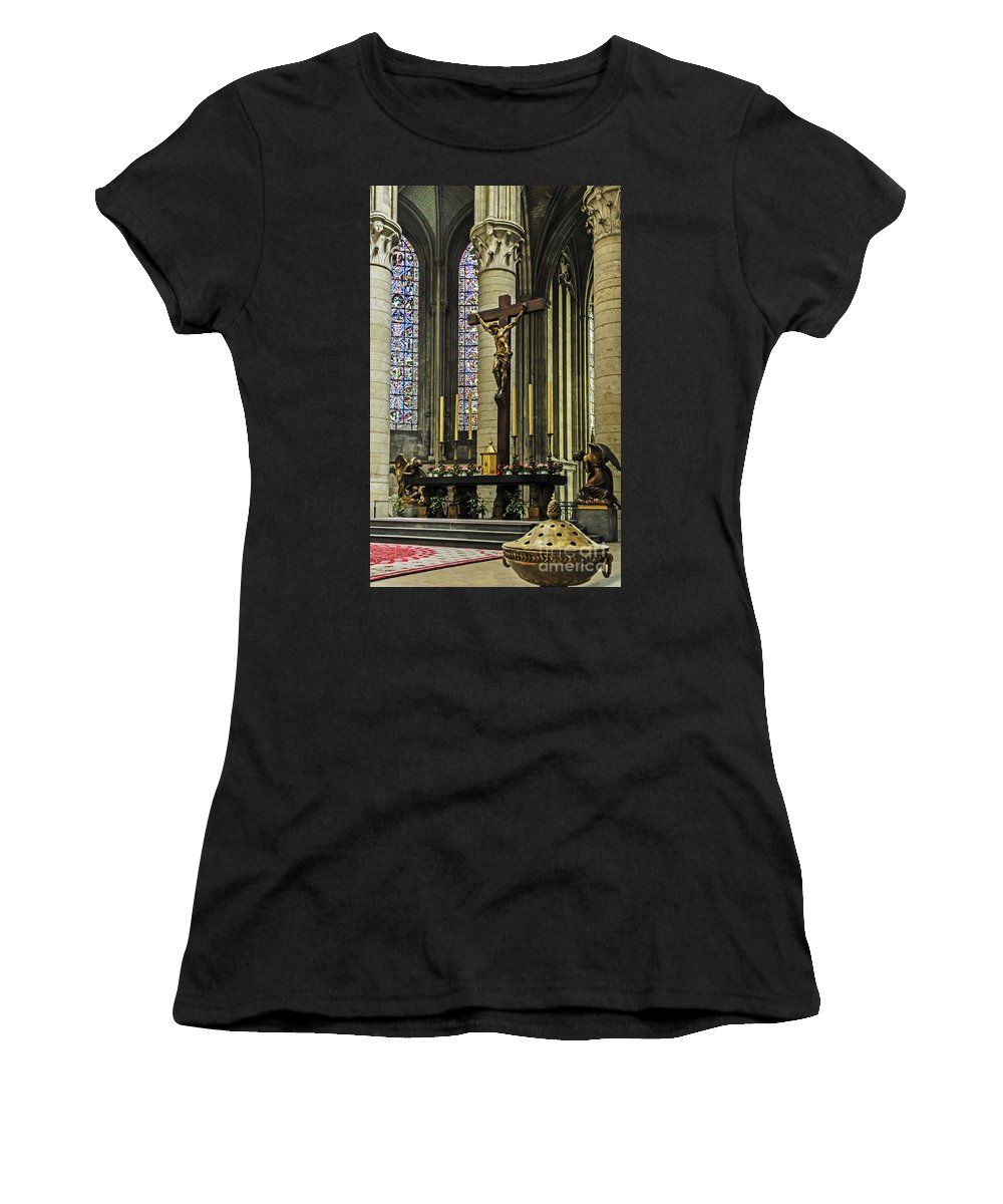 Travel Women's T-Shirt (Athletic Fit) featuring the photograph Altar Of Rouen Cathedral by Elvis Vaughn
