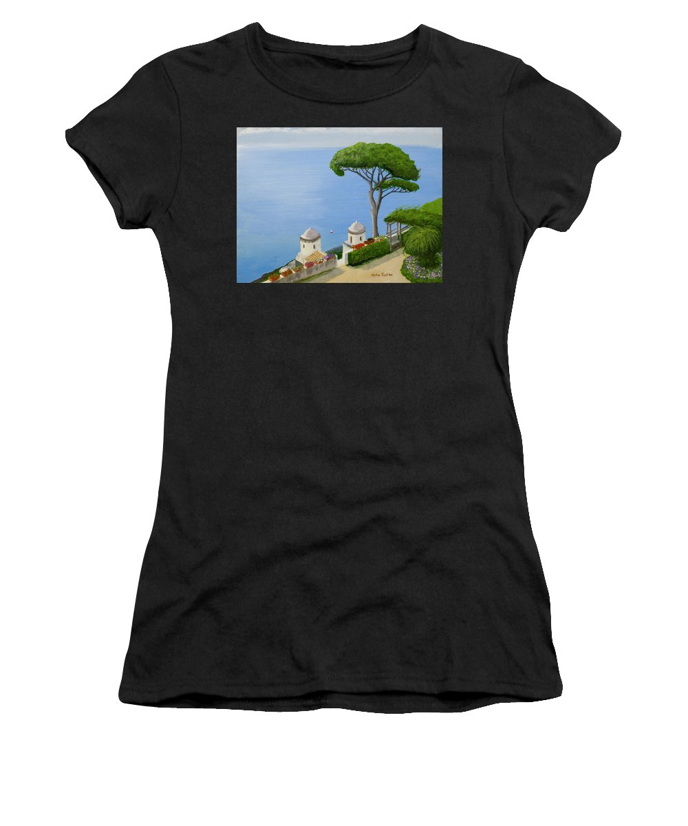 Amalfi Women's T-Shirt (Athletic Fit) featuring the painting Amalfi Coast From Ravello by Mike Robles