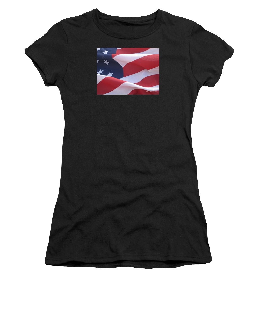 Photograph Women's T-Shirt (Athletic Fit) featuring the photograph American Flag  by Chrisann Ellis