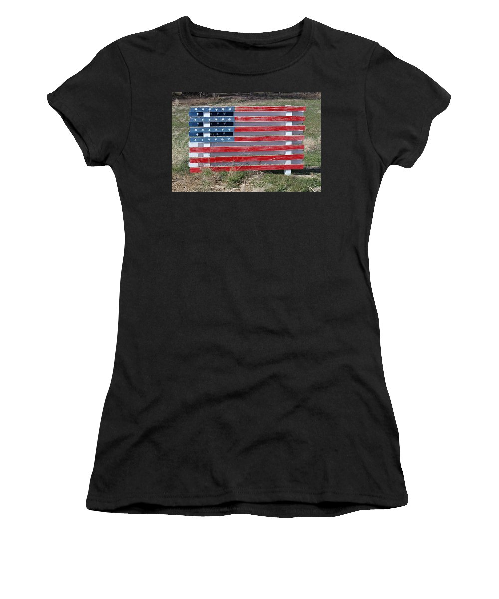 Americana Women's T-Shirt (Athletic Fit) featuring the photograph American Flag Country Style by Sylvia Thornton