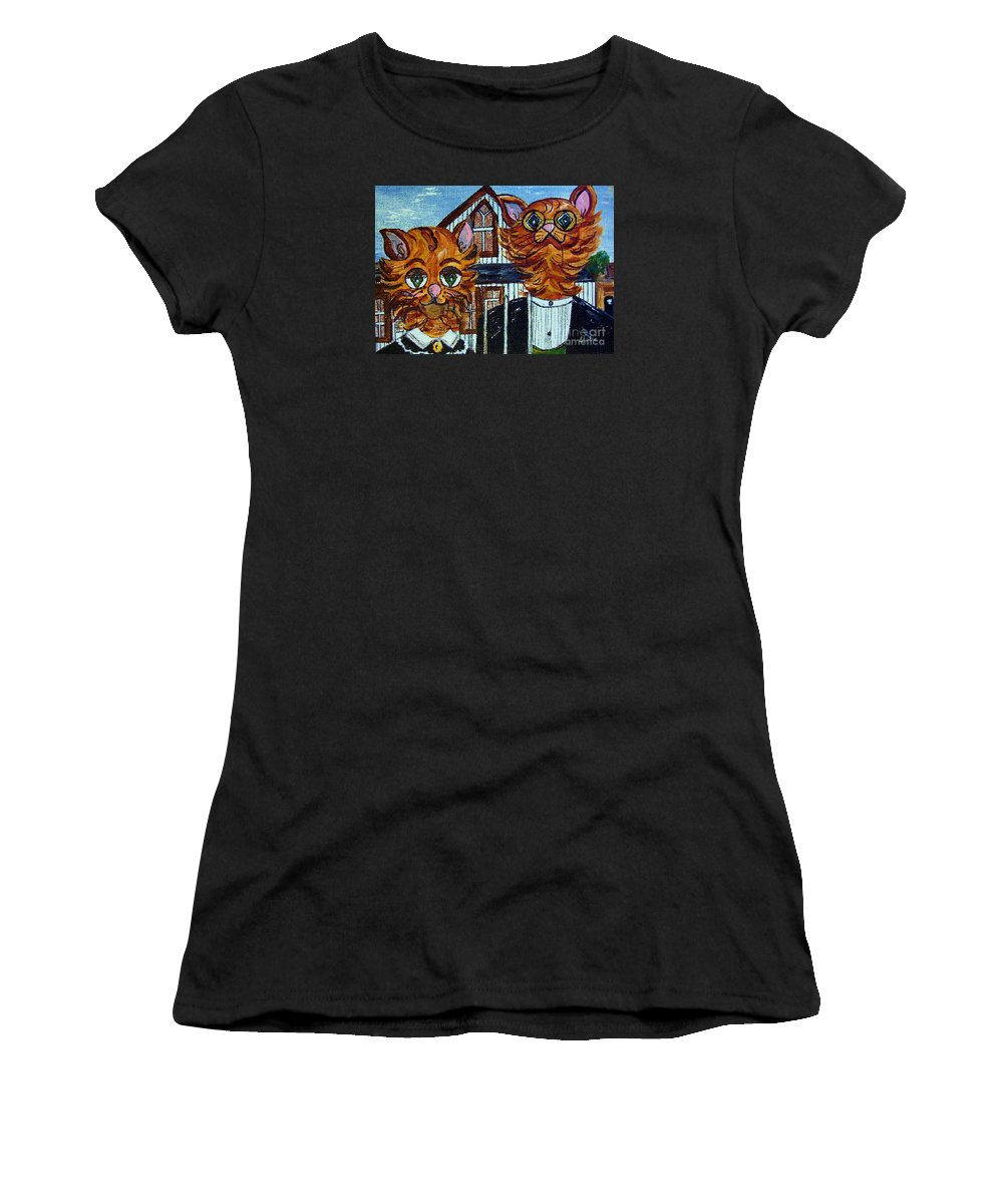 American Women's T-Shirt (Athletic Fit) featuring the painting American Gothic Cats - A Parody by Eloise Schneider