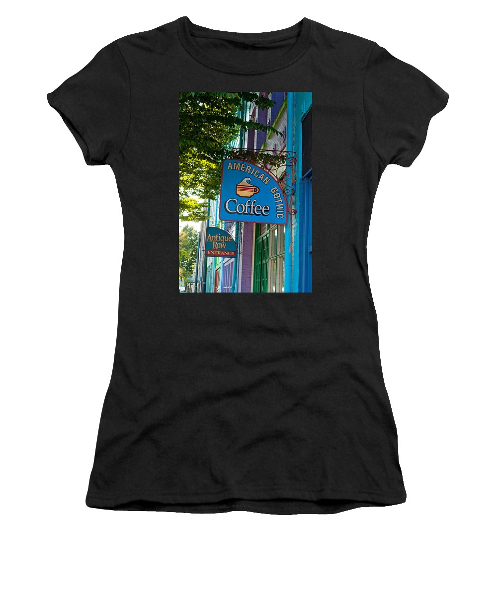 Tacoma Washington Women's T-Shirt (Athletic Fit) featuring the photograph American Gothic Coffee by Tikvah's Hope