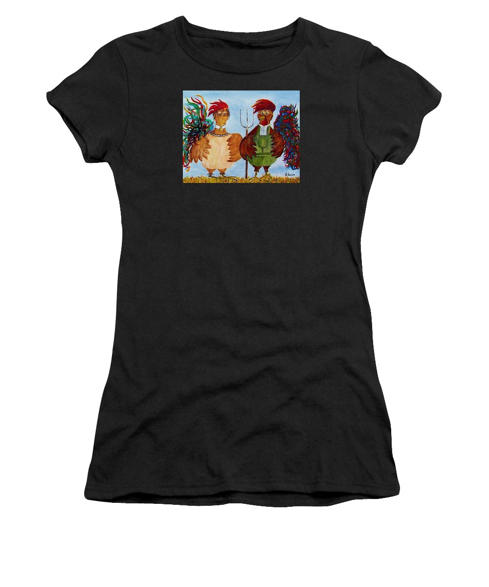 Rooster Women's T-Shirt featuring the painting American Gothic Down On The Farm - A Parody by Eloise Schneider Mote