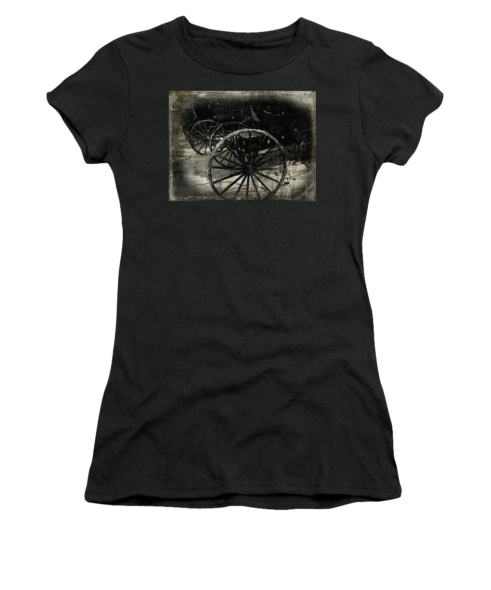 Amish Women's T-Shirt (Athletic Fit) featuring the photograph Amish Cart Wheels Grunge by Cassie Peters