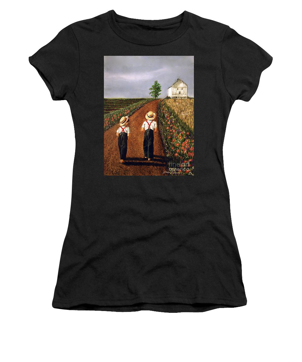 Lifestyle Women's T-Shirt (Athletic Fit) featuring the painting Amish Road by Linda Simon