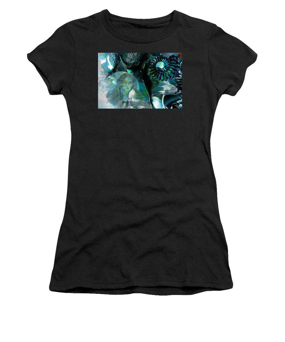 Ocean Women's T-Shirt (Athletic Fit) featuring the digital art Ammonite Seascape by Lisa Yount