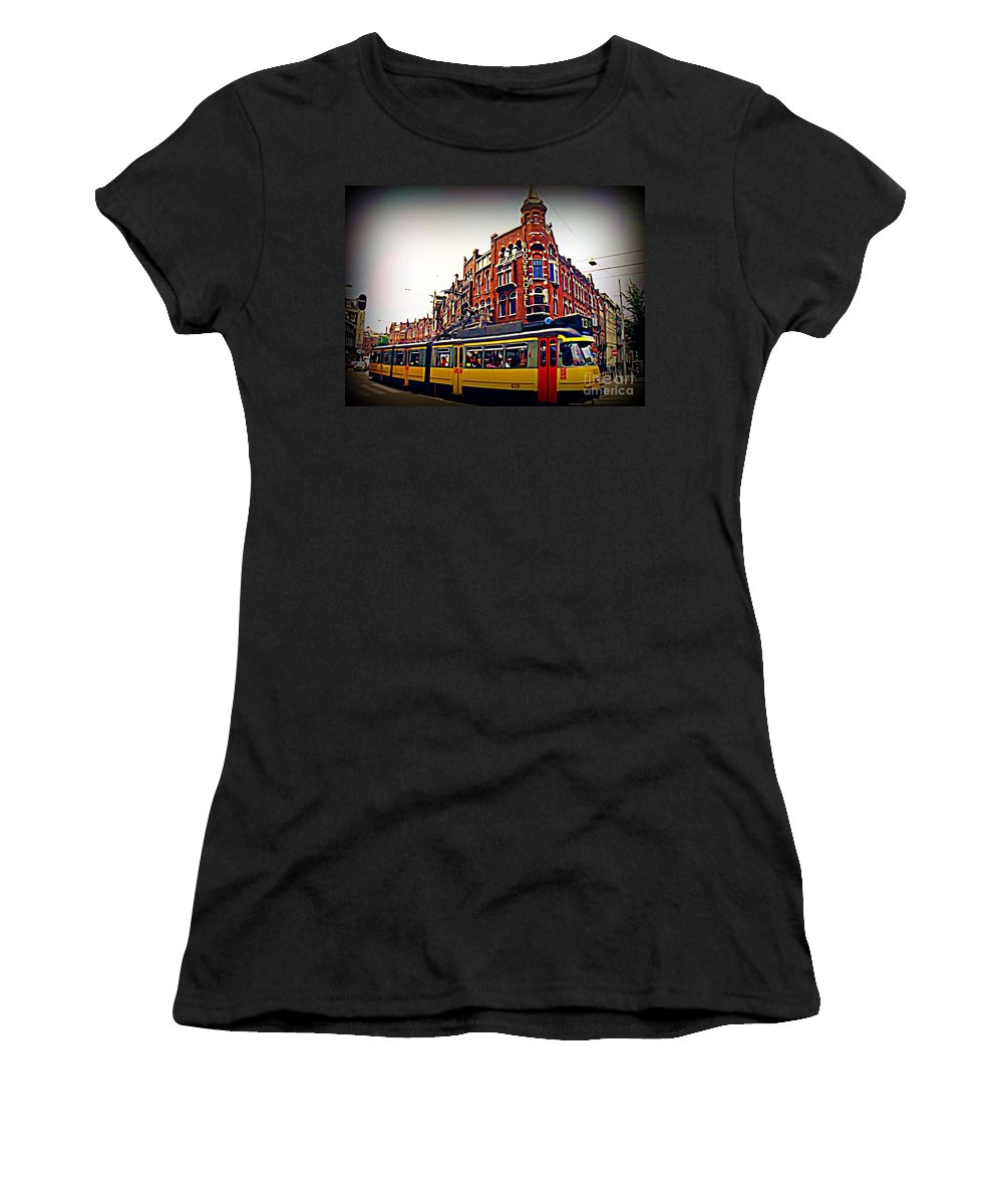 Amsterdam Street Cars Women's T-Shirt featuring the painting Amsterdam Transportation by John Malone