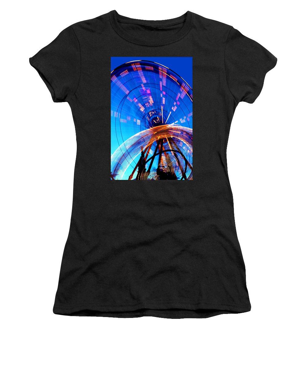 Amusement Park Women's T-Shirt (Athletic Fit) featuring the photograph Amusement Park Rides 1 by Steve Ohlsen