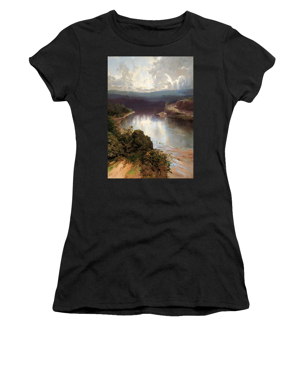William Charles Piguenit Women's T-Shirt featuring the painting An Australian Fjord by William Charles Piguenit