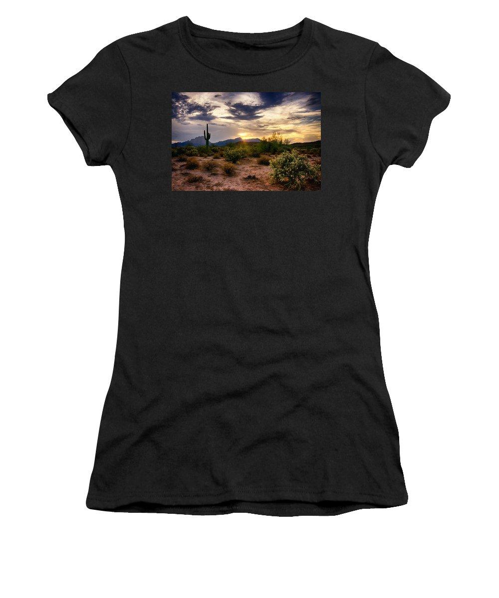 Sunset Women's T-Shirt featuring the photograph An Evening In The Desert by Saija Lehtonen