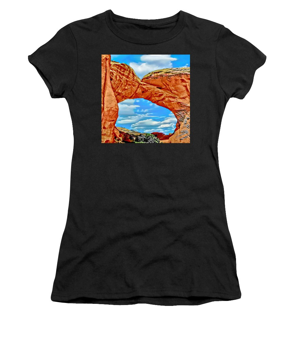 Arches Women's T-Shirt (Athletic Fit) featuring the painting An Impression Of Arches National Park by Bob and Nadine Johnston