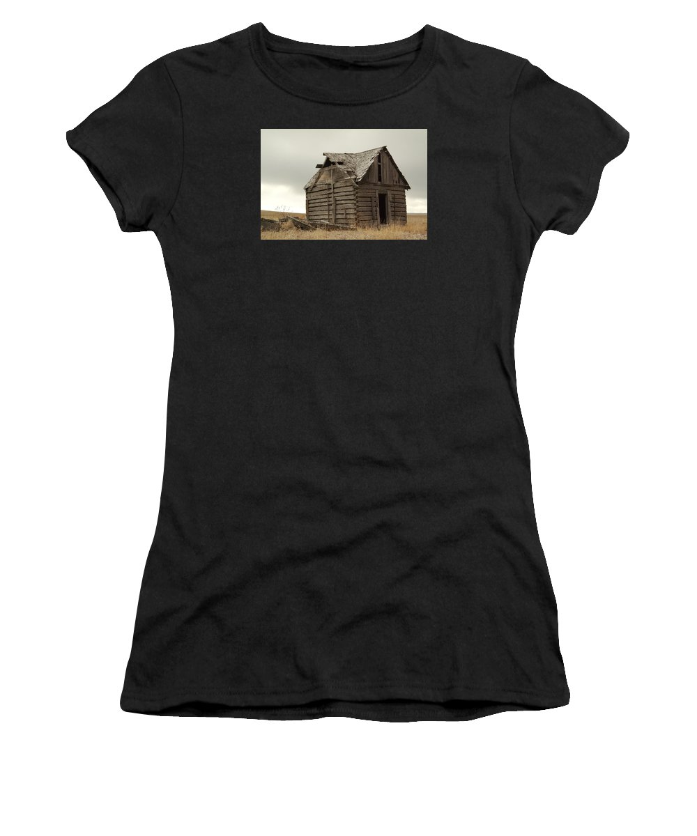 Cabins Women's T-Shirt featuring the photograph An Old Cabin In Eastern Montana by Jeff Swan
