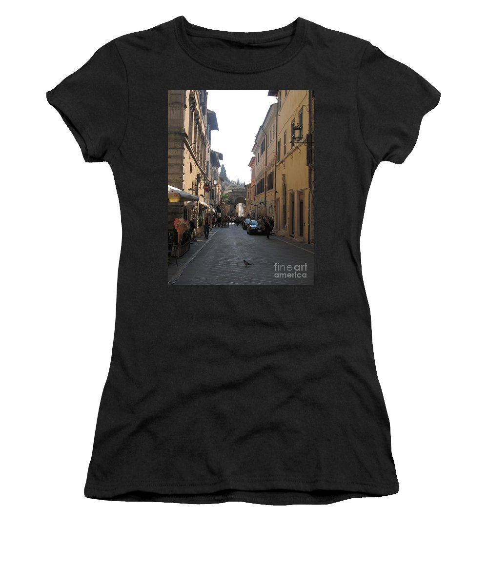 Street Women's T-Shirt (Athletic Fit) featuring the digital art An Old Street In Assisi Italy by Anthony Morretta
