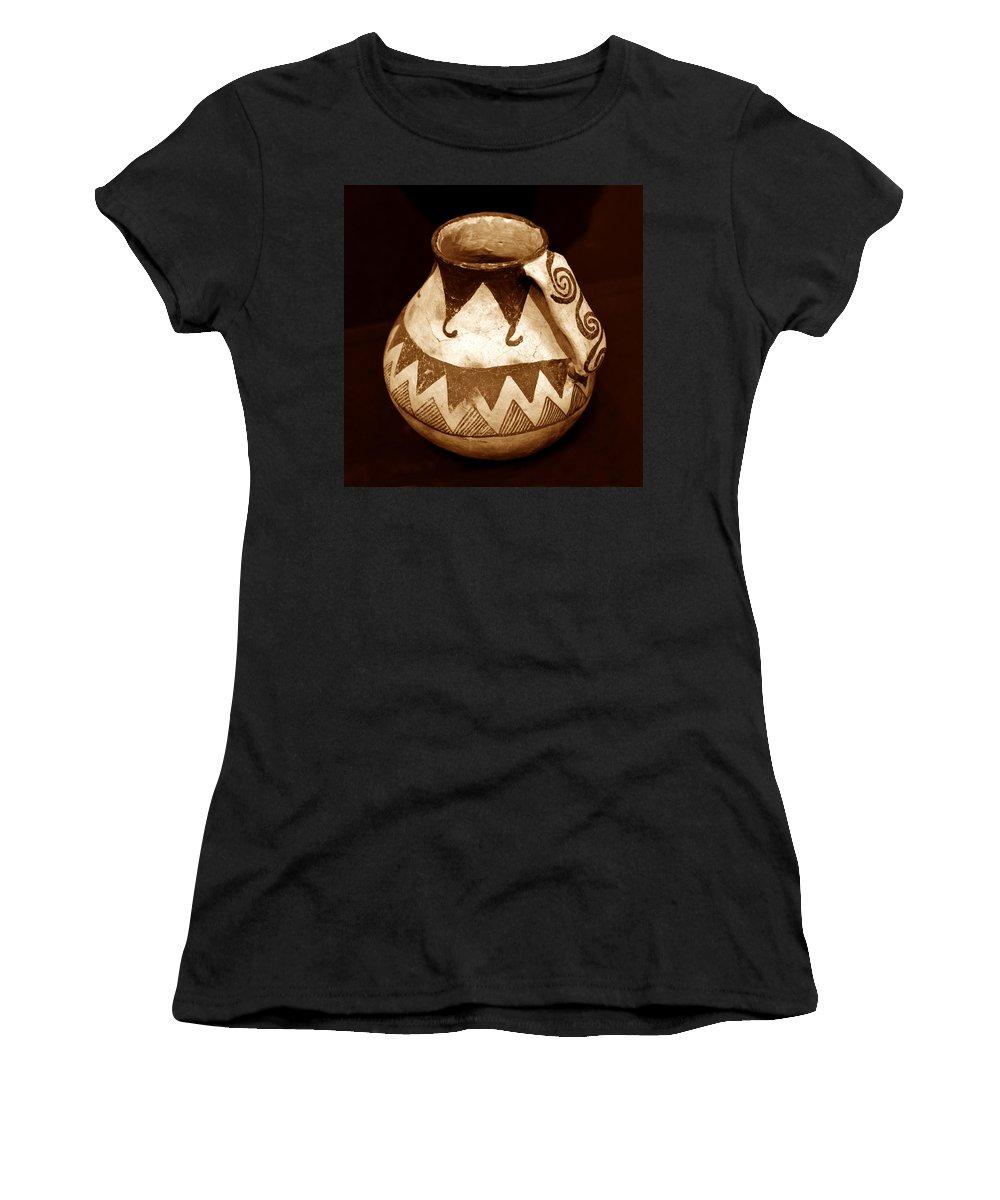 Anasazi Women's T-Shirt featuring the photograph Anasazi Jug With Spiral Handle by David Lee Thompson