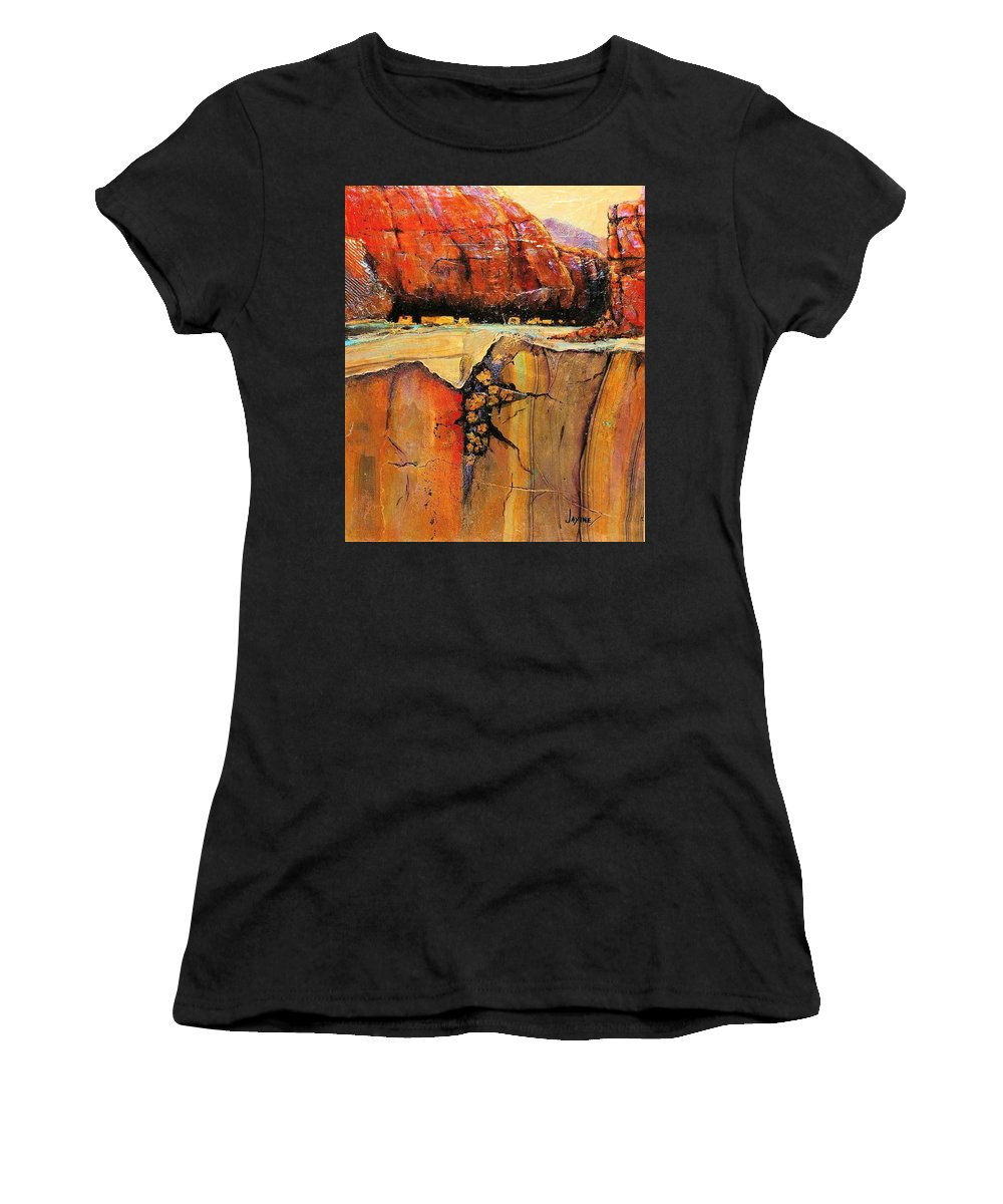 Jaxine Cumminssouth West Art Women's T-Shirt (Athletic Fit) featuring the painting Ancient Ruins by JAXINE Cummins