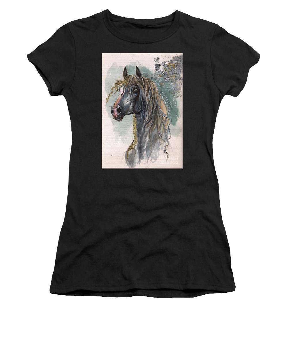 Horse Women's T-Shirt (Athletic Fit) featuring the painting Andalusian Horse 2014 11 11 by Angel Ciesniarska