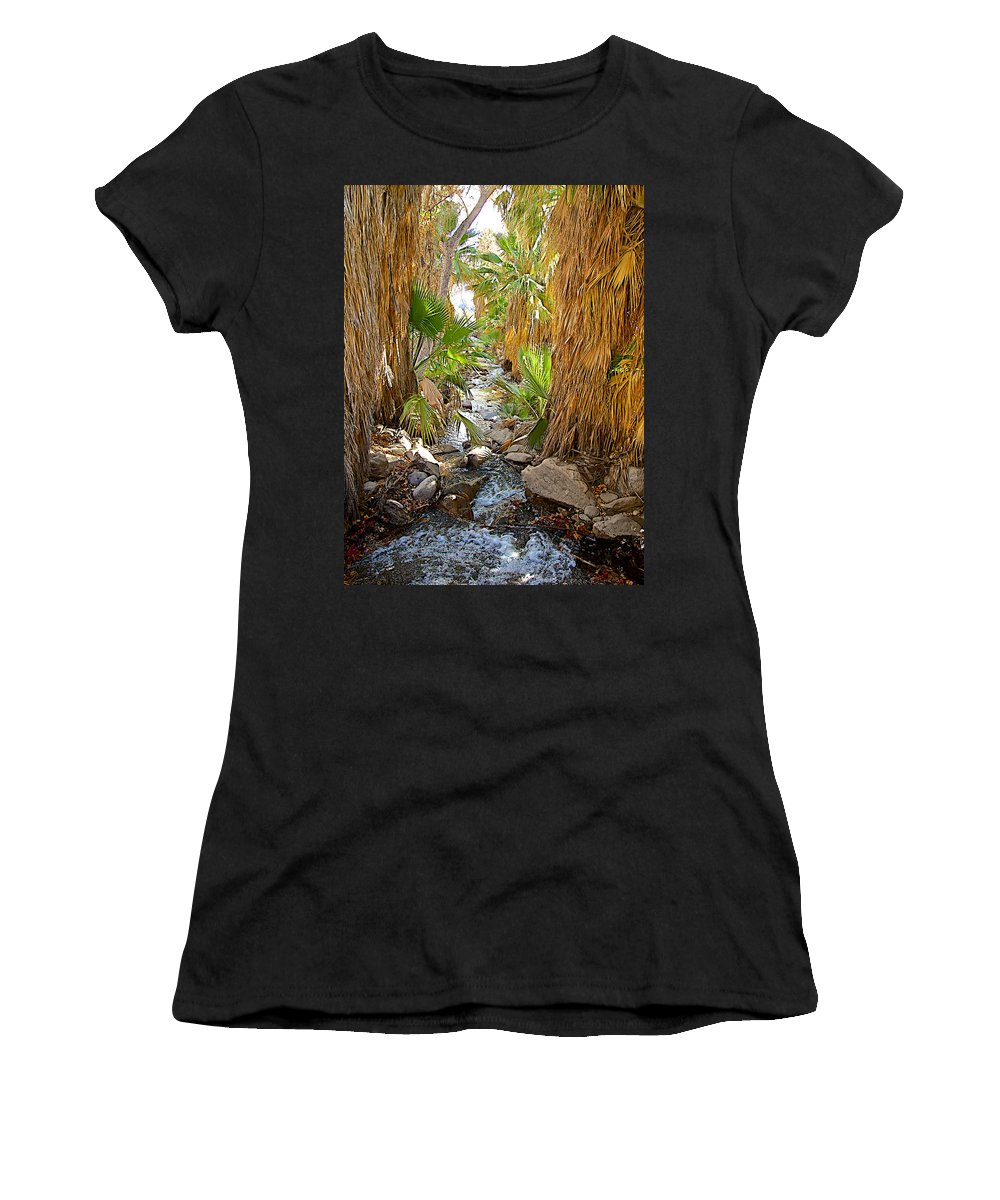Andreas Creek In Andreas Canyon Trail In Indian Canyons Women's T-Shirt (Athletic Fit) featuring the photograph Andreas Creek In Andreas Canyon In Indian Canyons-ca by Ruth Hager