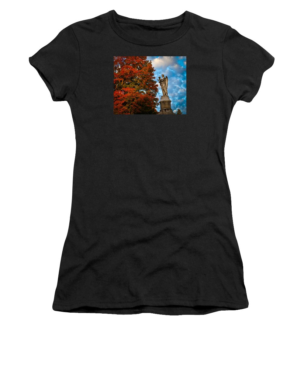 Angel Women's T-Shirt (Athletic Fit) featuring the photograph Angel And Boy In Foliage Scenery by Jiayin Ma