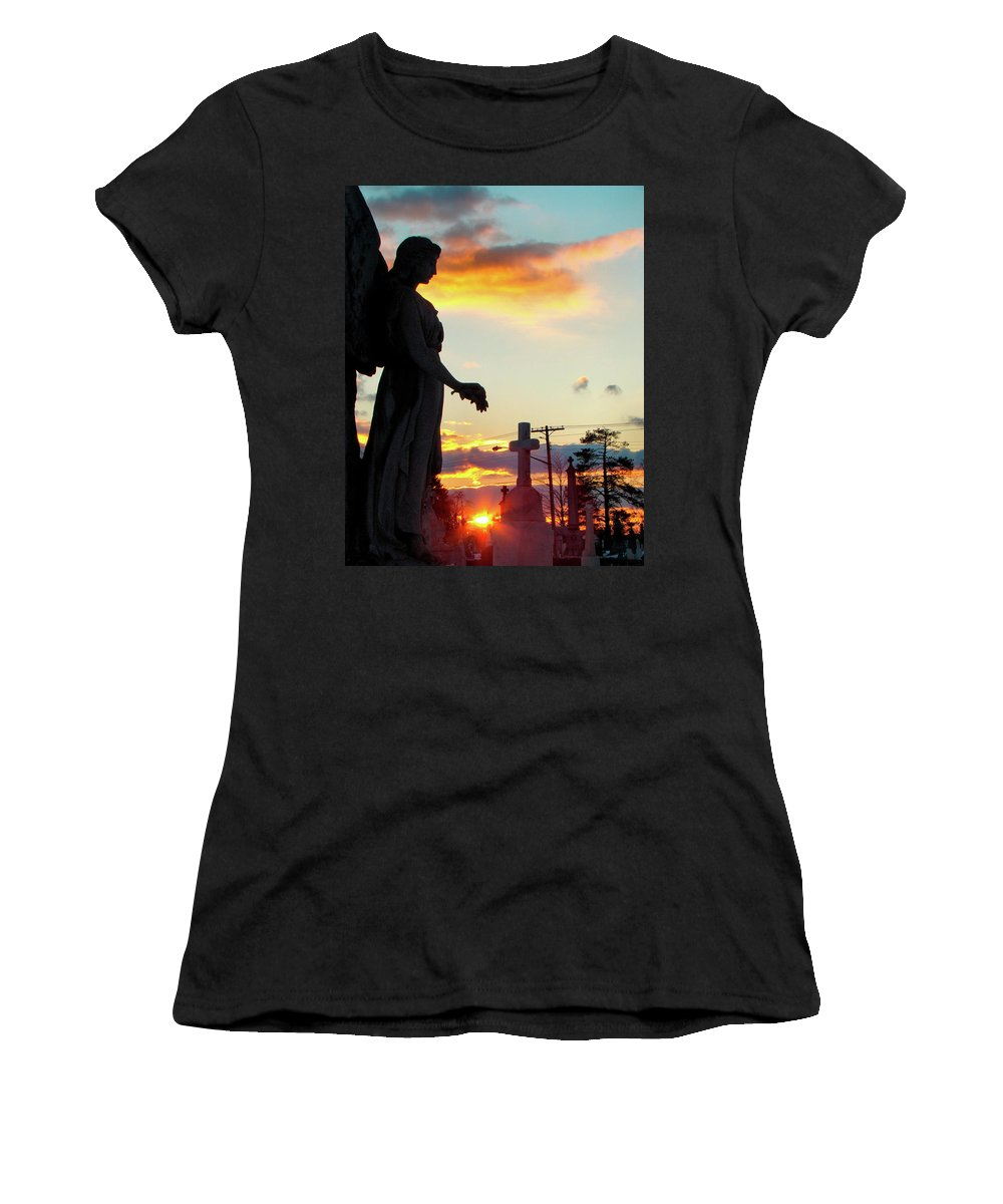 Silhouette Women's T-Shirt (Athletic Fit) featuring the photograph Angel Silhouette In Burst Of Colors by Gothicrow Images