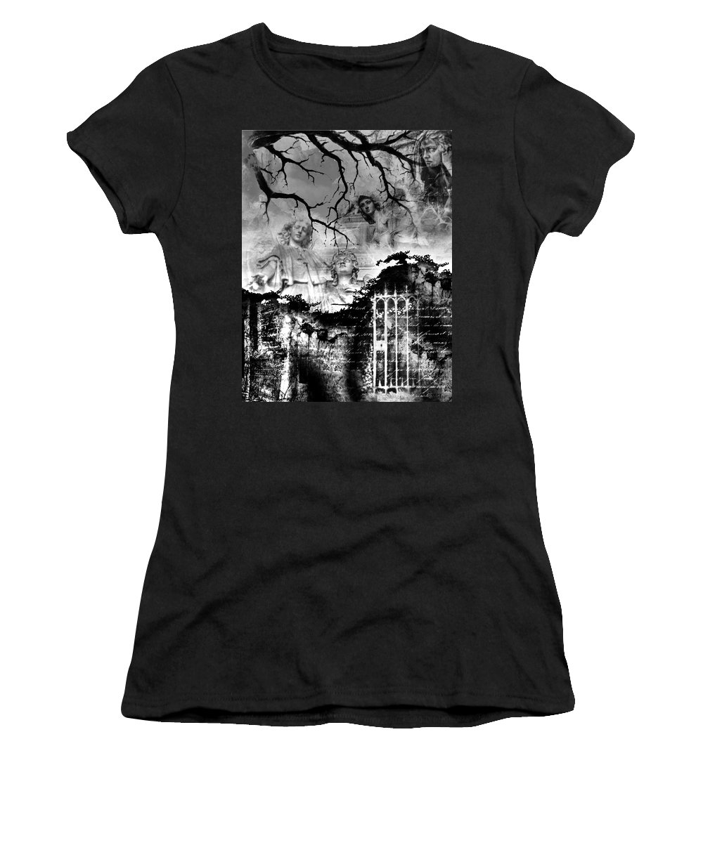 Angels Women's T-Shirt (Athletic Fit) featuring the digital art Angels In Gothica Bw by Michael Damiani