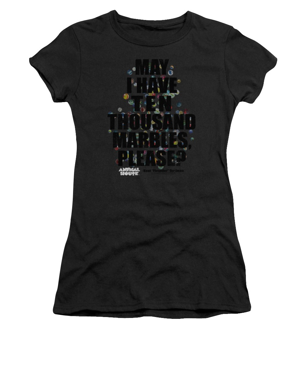 Animal House Women's T-Shirt featuring the digital art Animal House - Marbles by Brand A