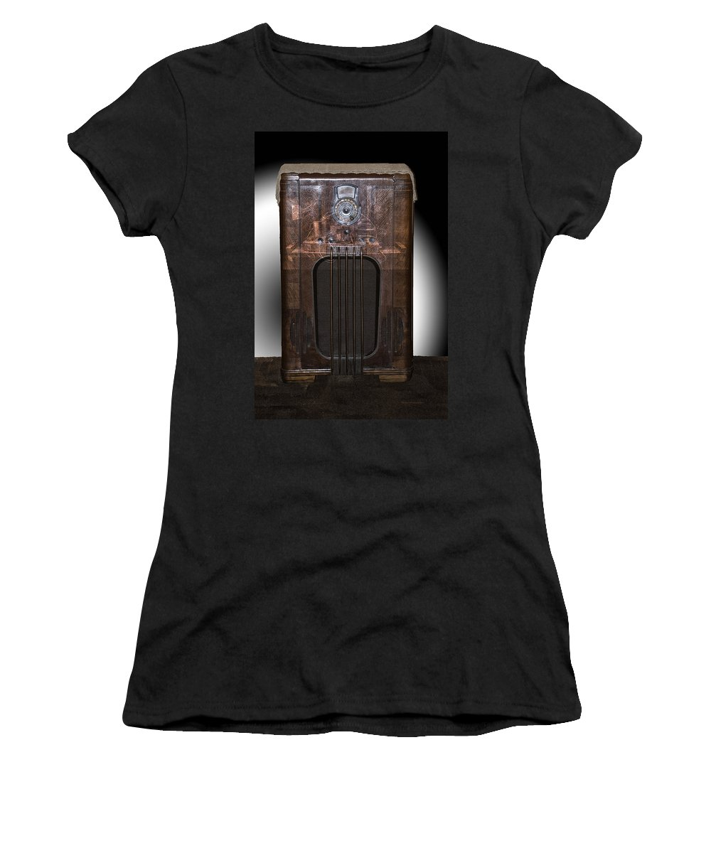 Radio Women's T-Shirt (Athletic Fit) featuring the photograph Antique Philco Radio Model 37 116 Merged V by Thomas Woolworth